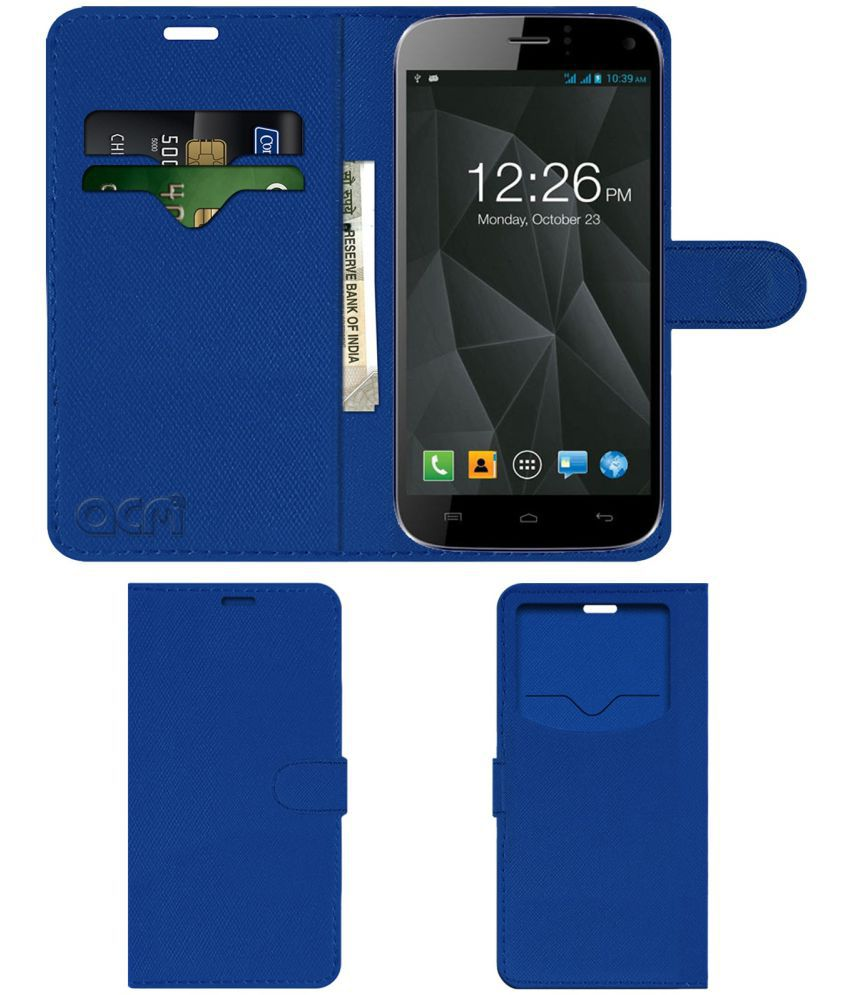 Micromax A250 Canvas Turbo Flip Cover by ACM - Blue Wallet Case,Can store 2 Card & 1 Cash Pockets