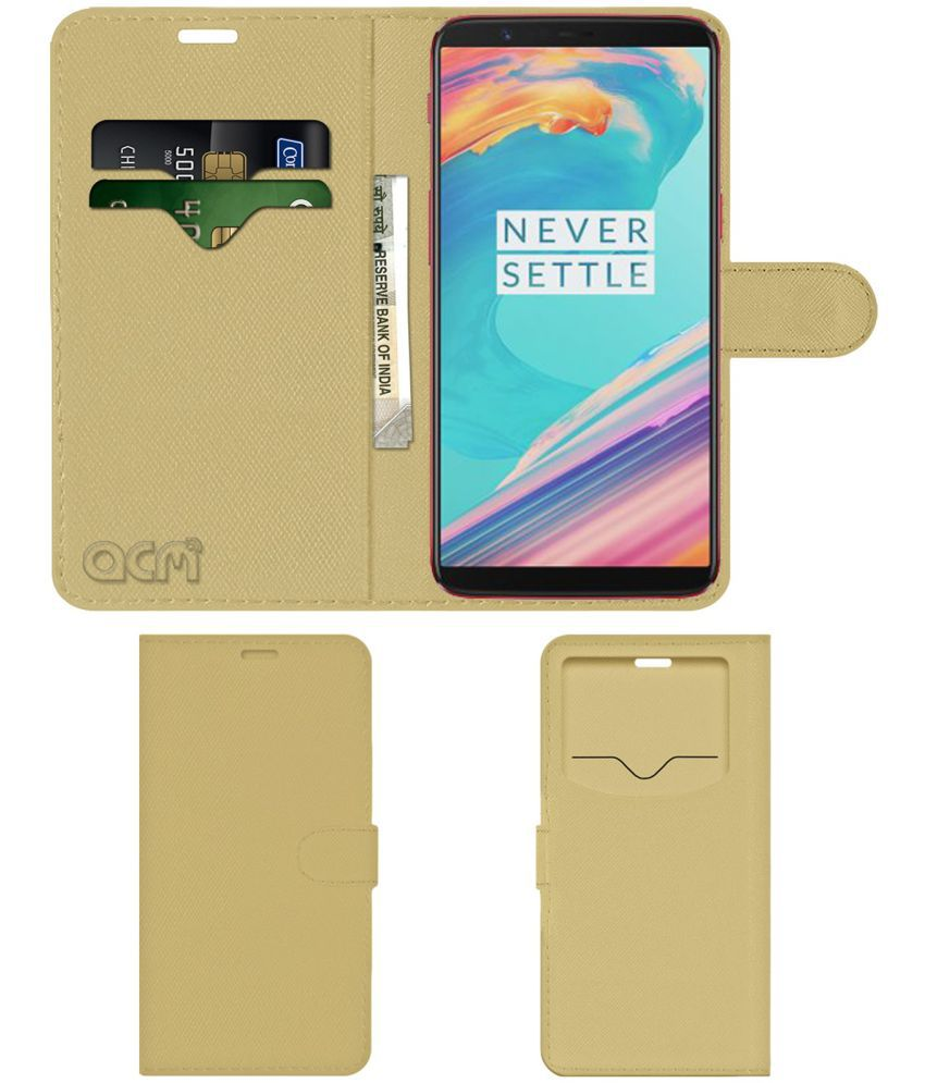 ONEPLUS 5T LAVA RED Flip Cover by ACM - Golden Wallet Case,Can store 2 Card & 1 Cash Pockets