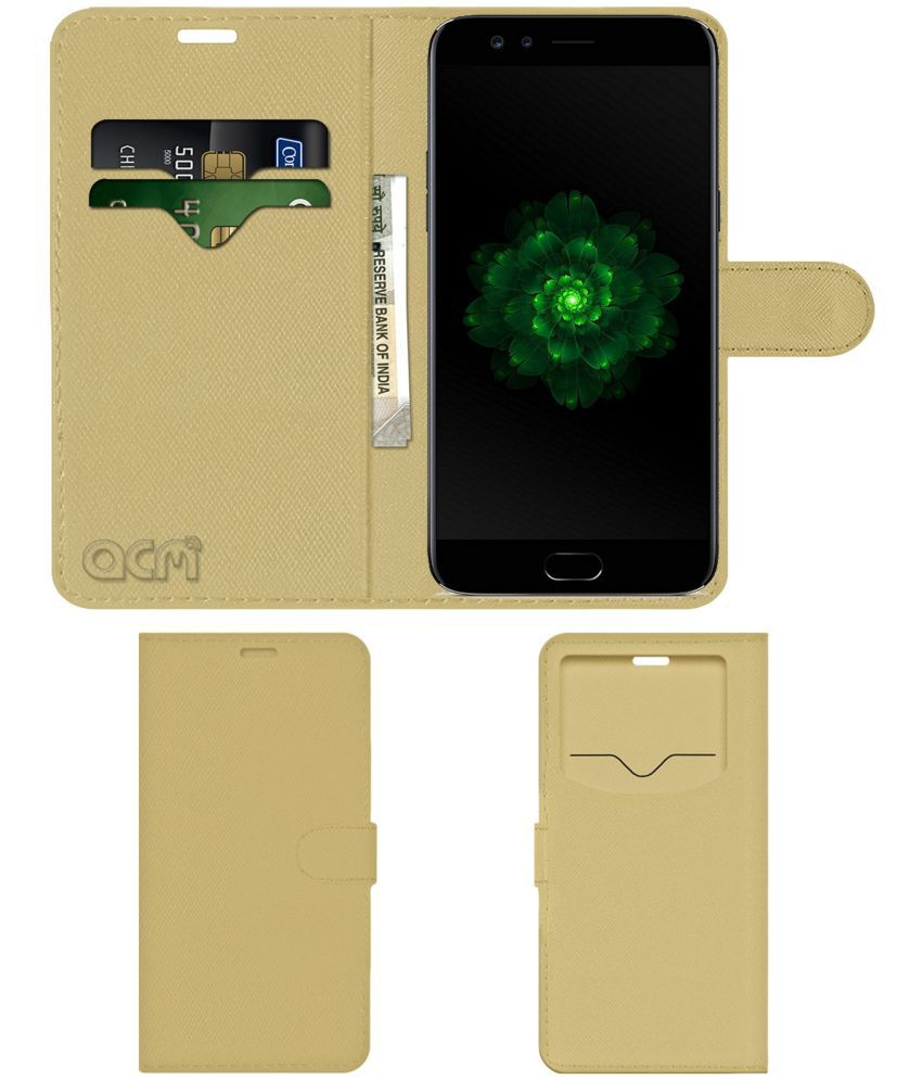 OPPO F3 BLACK EDITION Flip Cover by ACM - Golden Wallet Case,Can store 2 Card & 1 Cash Pockets