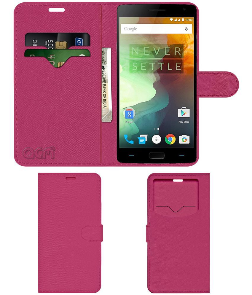 OnePlus 2 Flip Cover by ACM - Pink Wallet Case,Can store 2 Card & 1 Cash Pockets