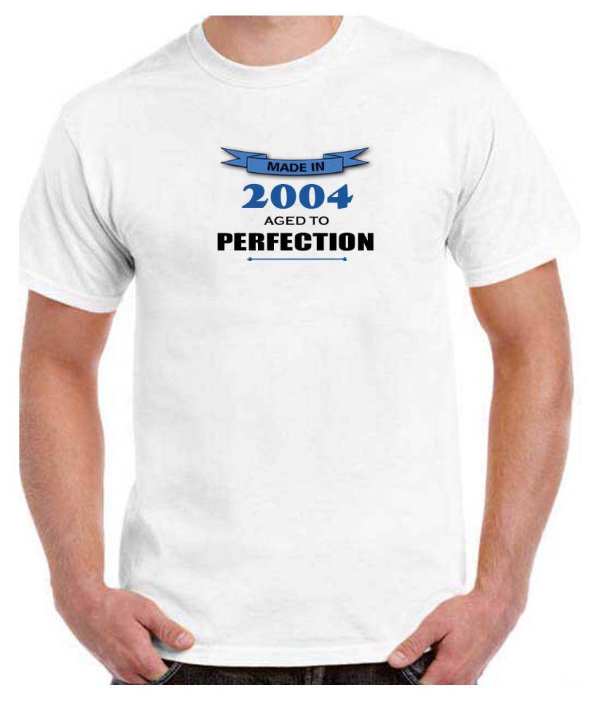 Ritzees Unisex Half Sleeve White Cotton T-Shirt Cotton T-Shirt Birthday for Men, Women, Kids(White, 42)