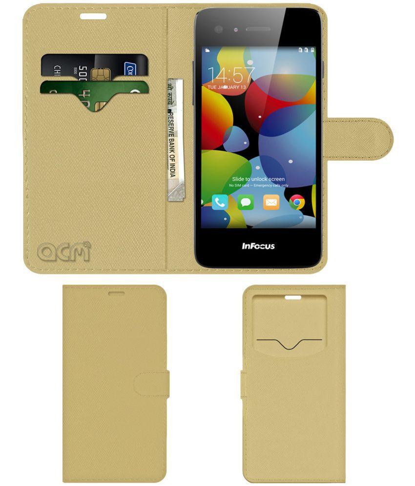 Infocus M2 Flip Cover by ACM - Golden Wallet Case,Can store 2 Card & 1 Cash Pockets