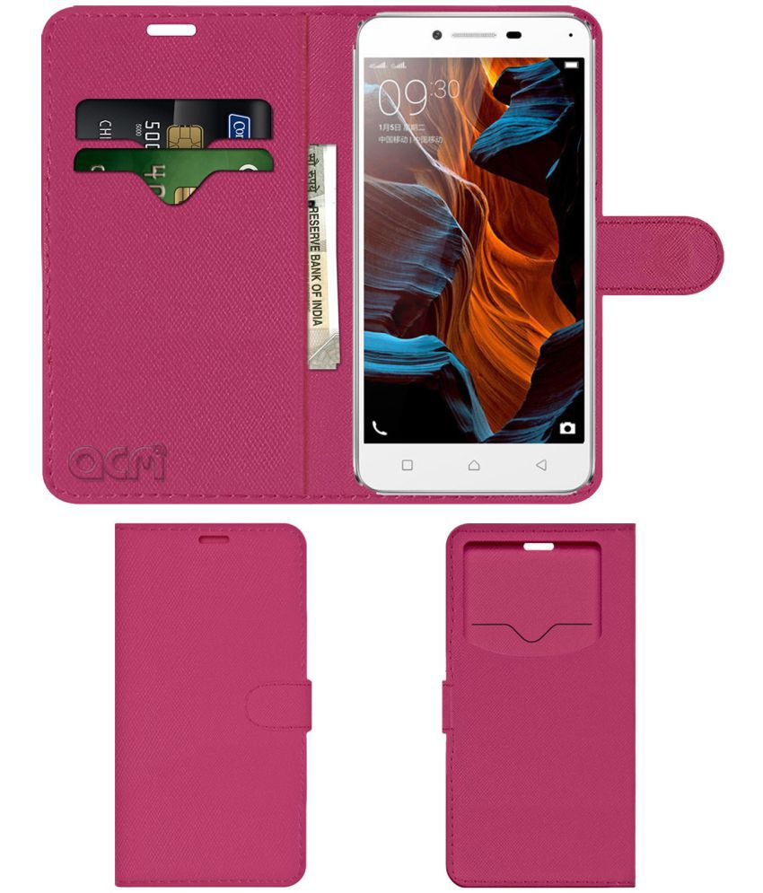 Lenovo Lemon 3 Flip Cover by ACM - Pink Wallet Case,Can store 2 Card & 1 Cash Pockets