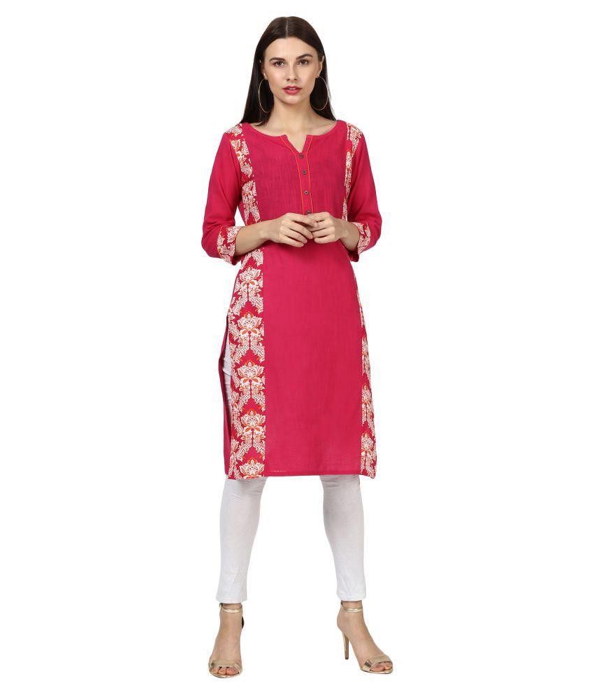 Rangeelo Rajasthan Pink Cotton Straight Kurti