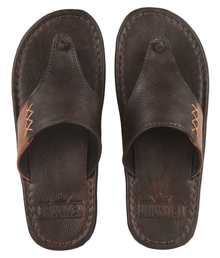 DRUNKEN Brown Leather Slippers