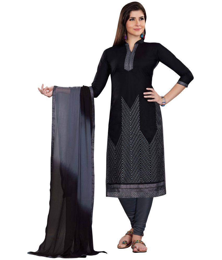 Maroosh Grey Cotton Straight Semi-Stitched Suit