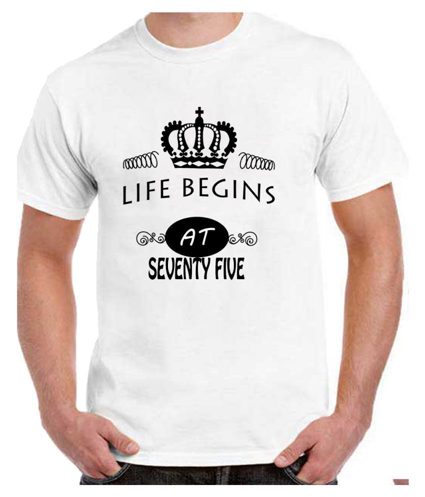 Ritzees Unisex Half Sleeve White Cotton T-Shirt Cotton T-Shirt 75Th Birthday for Men, Women, Kids(White, 40)