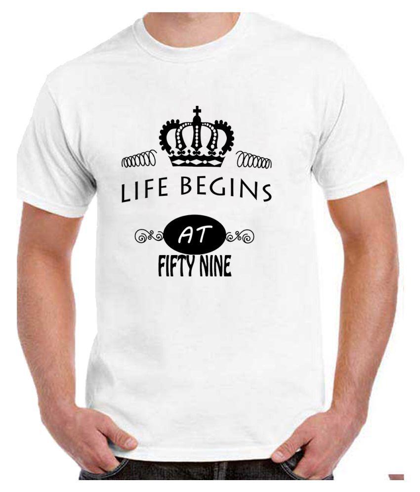 Ritzees Unisex Half Sleeve White Cotton T-Shirt Cotton T-Shirt 59Th Birthday for Men, Women, Kids(White, 34)