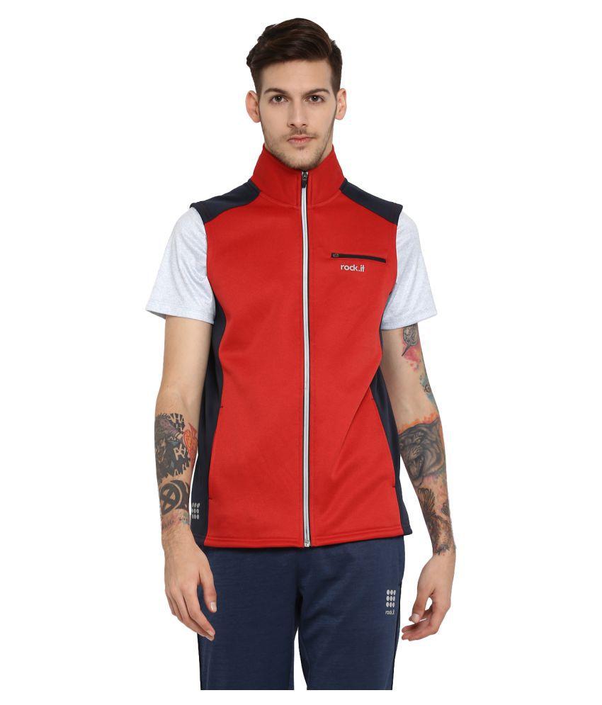 Rock.it Mens Red Printed Polo Collar SWIFT DRI Sweatshirts