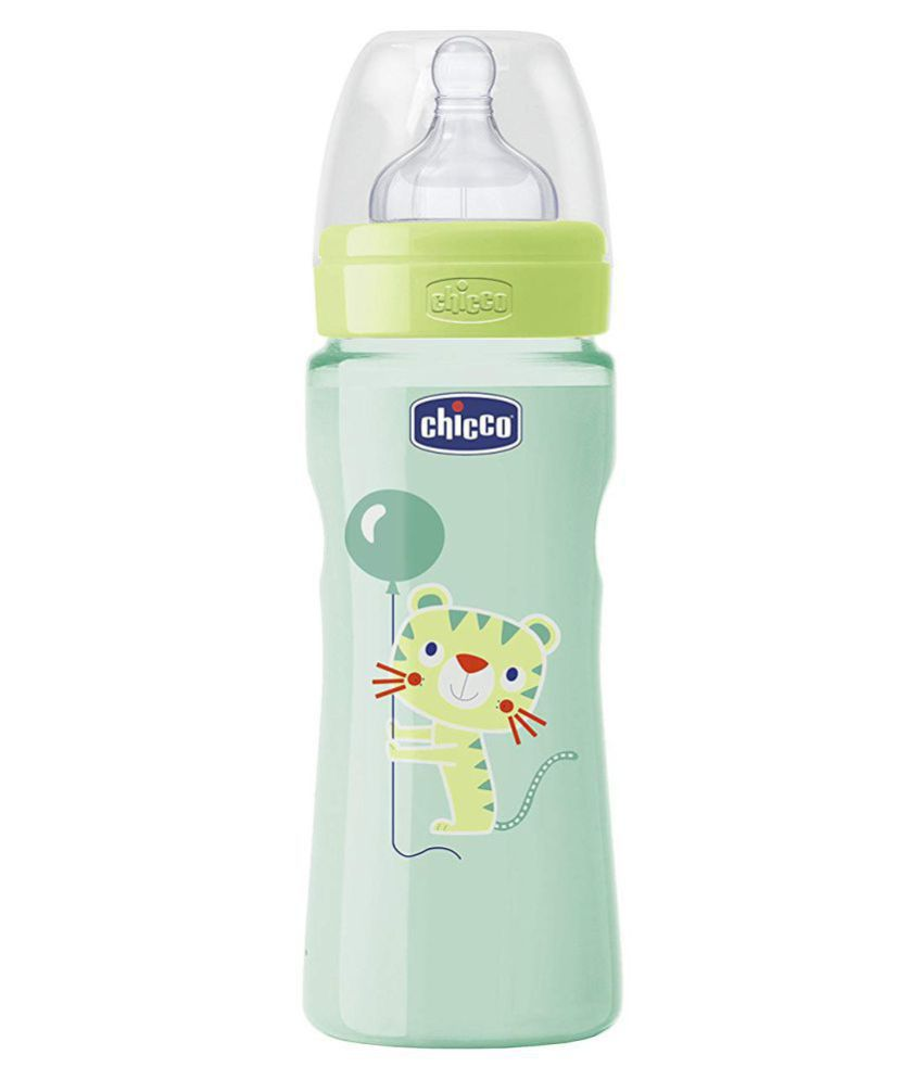 Chicco Well Being Bottle Baby Feeding Bottle 330ml Green and Pink