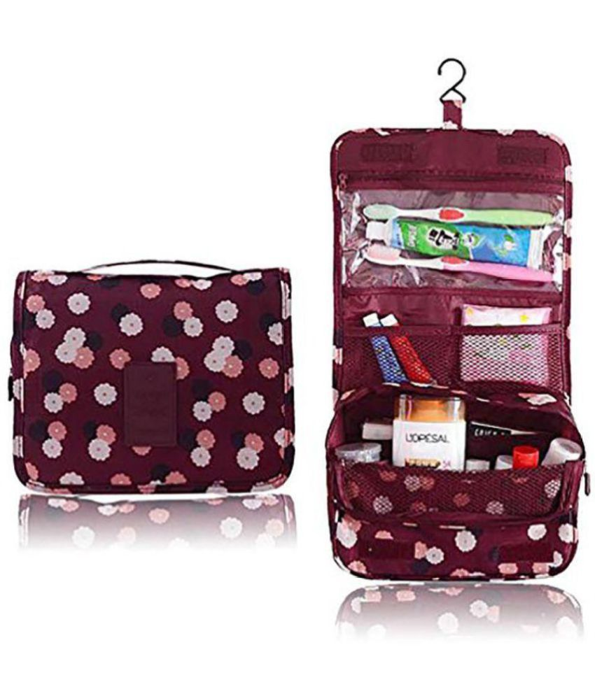 1fe6440ae6 House Of Quirk Maroon Flower Portable Make Up Bag Pouch Travel Kit Cosmetic  Bag Travel Kit Accessories Toiletry Bag - Buy House Of Quirk Maroon Flower  ...