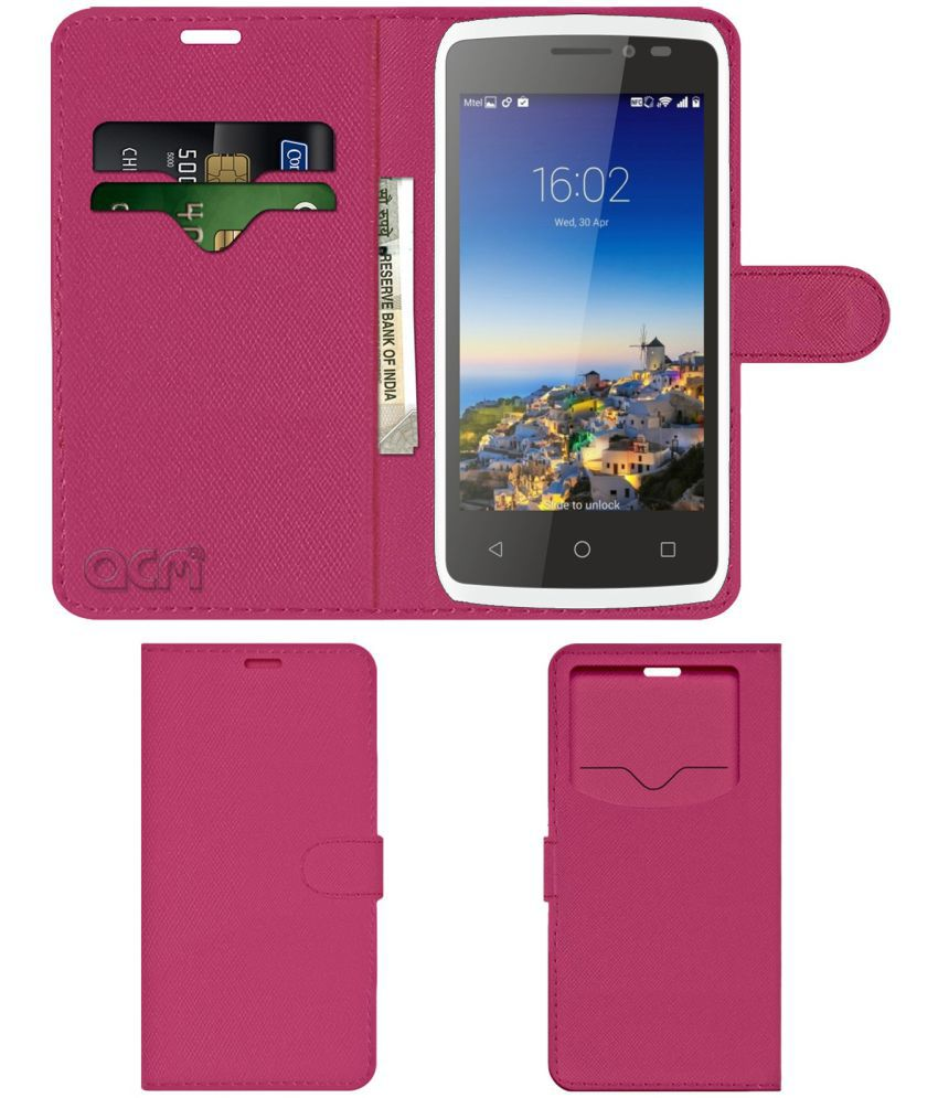 Hsl Y303 Flip Cover by ACM - Pink Wallet Case,Can store 2 Card & 1 Cash Pockets