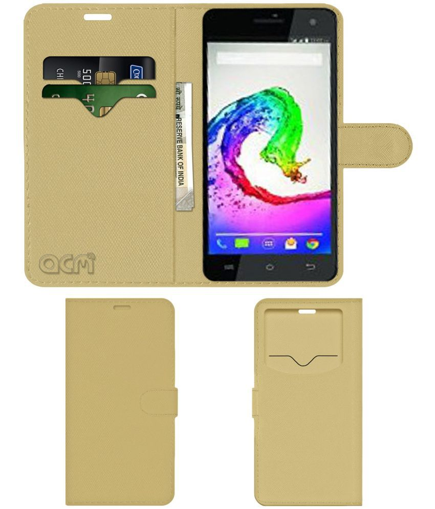 Lava Iris 100 Lite Flip Cover by ACM - Golden Wallet Case,Can store 2 Card & 1 Cash Pockets