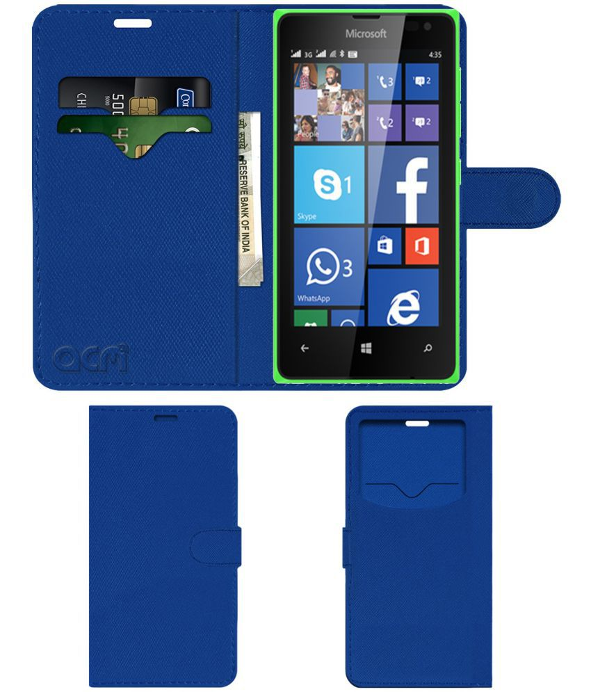 Microsoft Lumia 435 Flip Cover by ACM - Blue Wallet Case,Can store 2 Card & 1 Cash Pockets