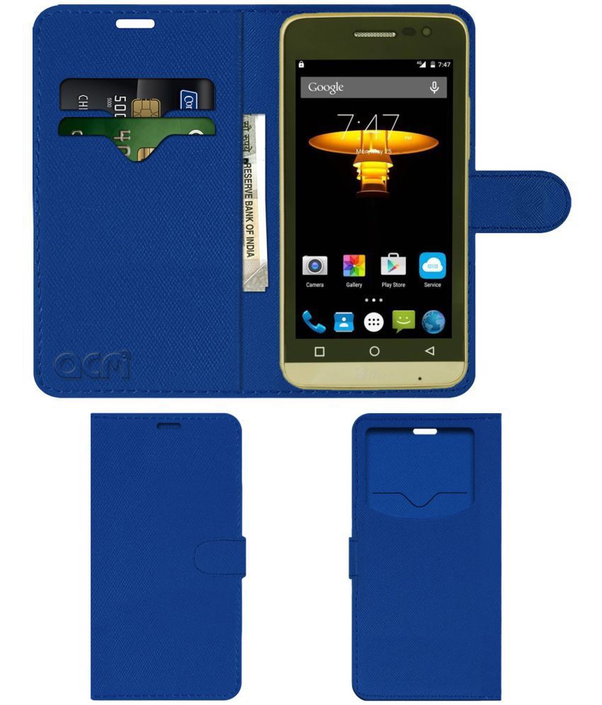 Alive+ S808 Python Flip Cover by ACM - Blue Wallet Case,Can store 2 Card & 1 Cash Pockets