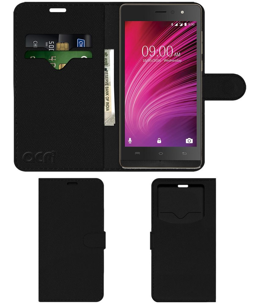 Lava A97 2Gb Flip Cover by ACM - Black Wallet Case,Can store 2 Card & 1 Cash Pockets