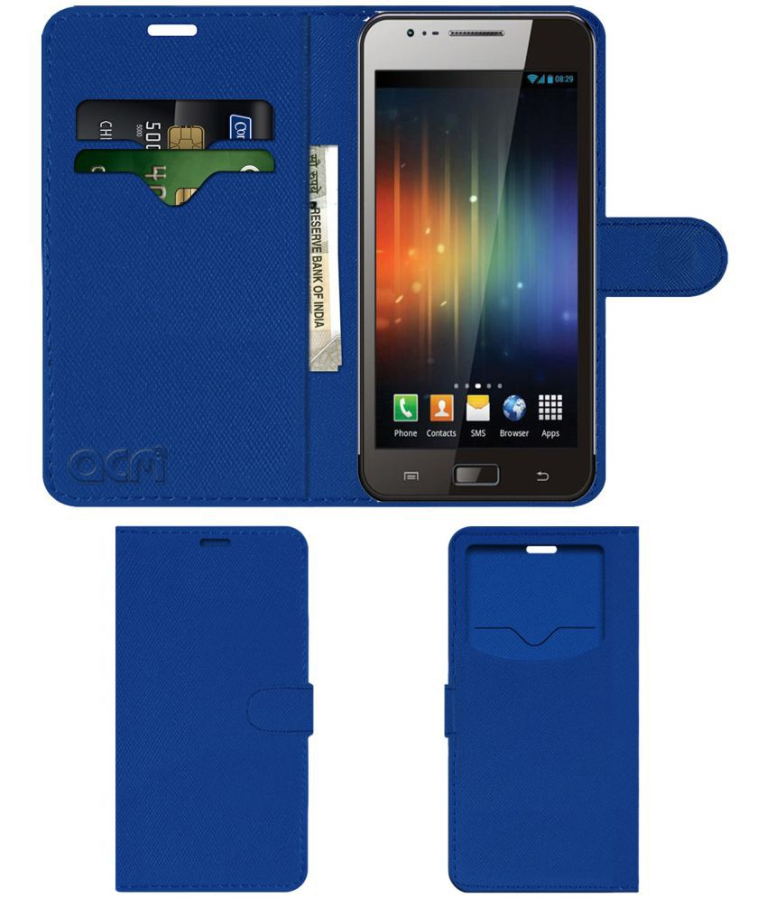 Maxx Ax8 Note Flip Cover by ACM - Blue Wallet Case,Can store 2 Card & 1 Cash Pockets
