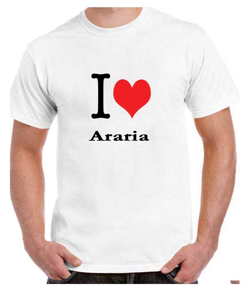 Ritzees Unisex Half Sleeve White Cotton T-Shirt Cotton T-Shirt Araria City for Men, Women, Kids(White, 44)