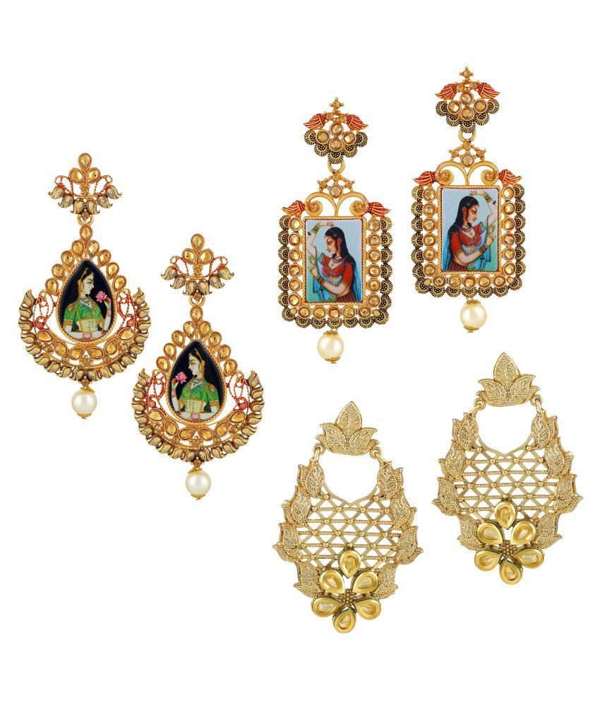 Asmitta Traditional Padmavati Style Chandelier Gold Plated LCT Stone Set Of 3 Earring Combo For Women