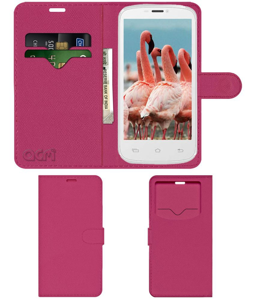 Celkon Signature HD A119 Flip Cover by ACM - Pink Wallet Case,Can store 2 Card & 1 Cash Pockets