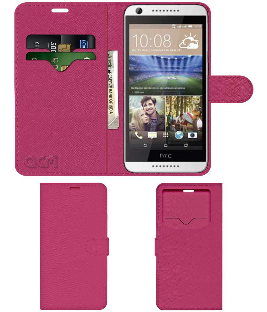 info for 48857 c989c HTC DESIRE 626 DUAL SIM Flip Cover by ACM - Pink Wallet Case,Can store 2  Card & 1 Cash Pockets