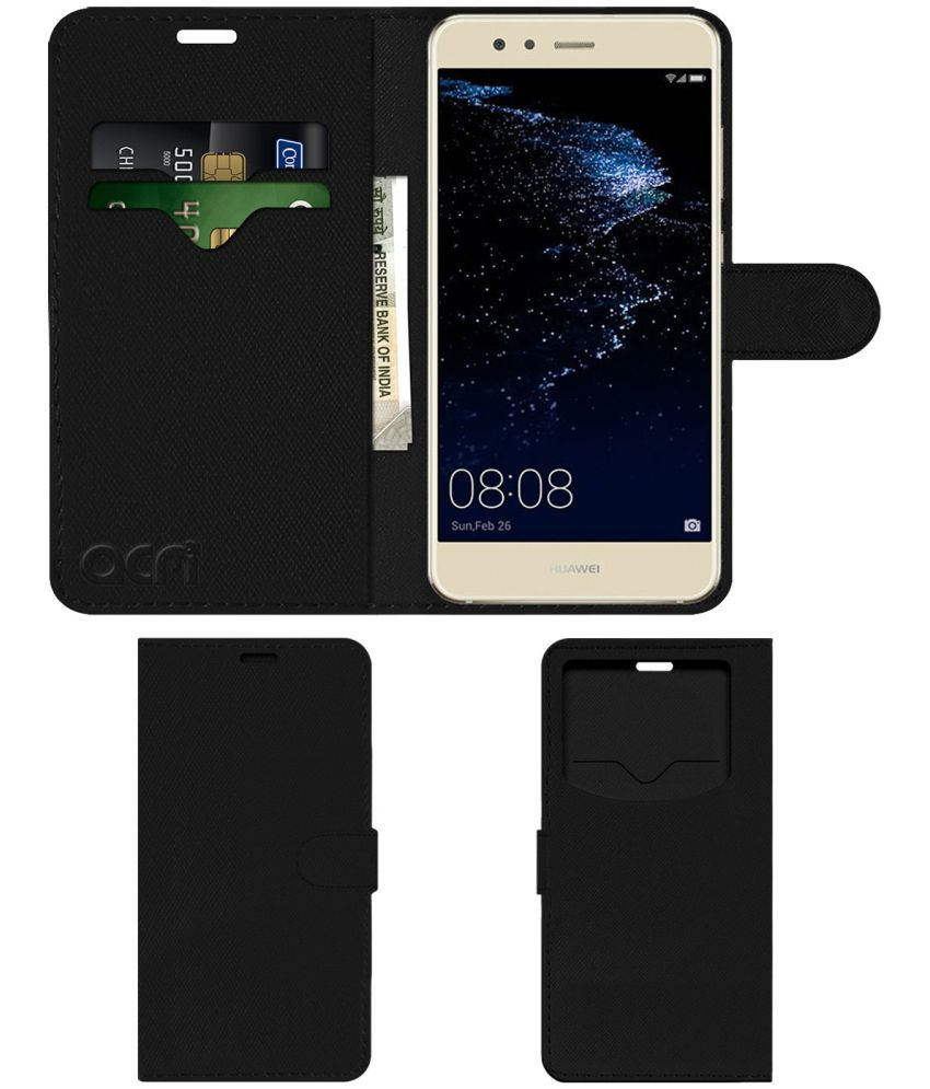 newest d5057 ee469 Huawei P10 Lite Flip Cover by ACM - Black Wallet Case,Can store 2 Card & 1  Cash Pockets