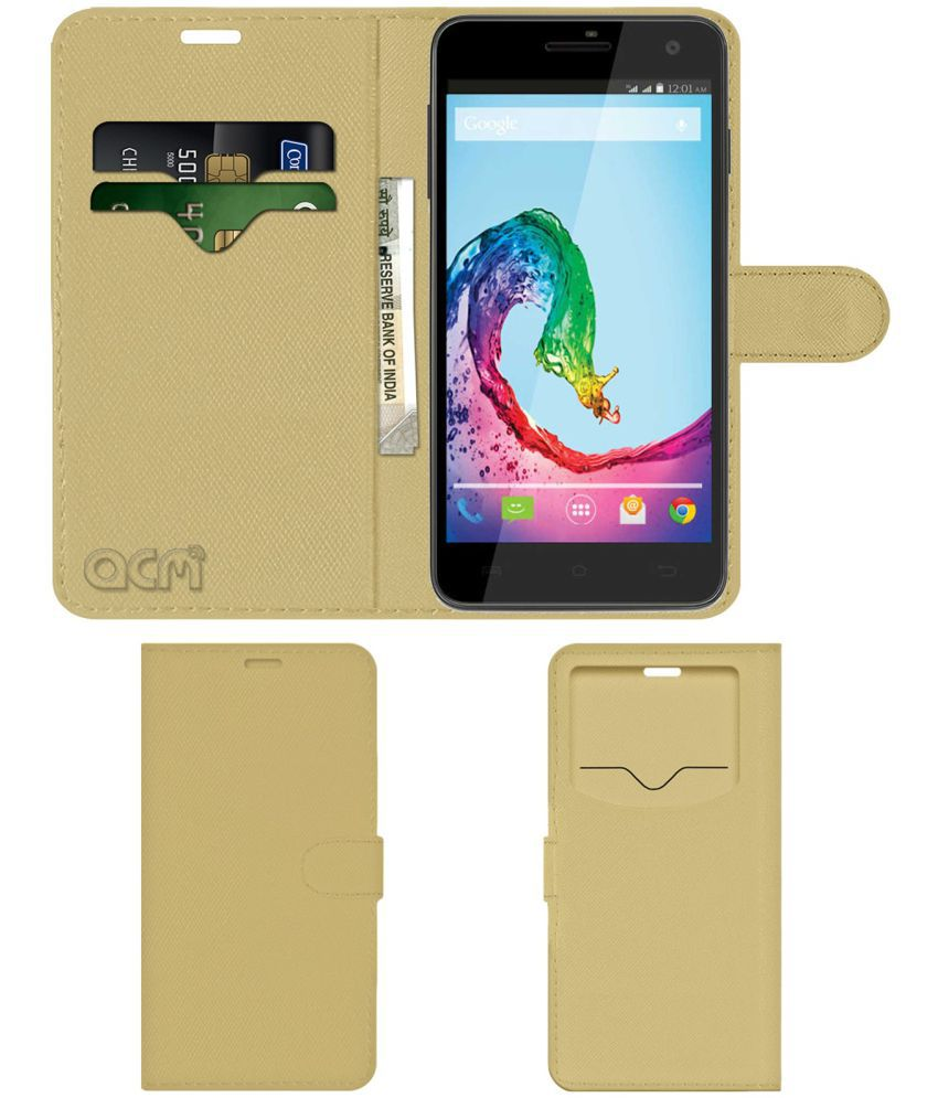 Lava Iris X5 Flip Cover by ACM - Golden Wallet Case,Can store 2 Card & 1 Cash Pockets