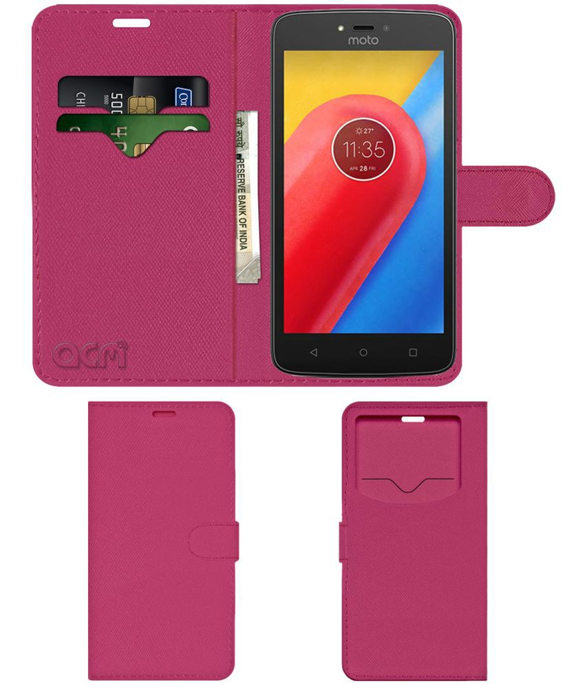 Motorola Moto C Plus Flip Cover by ACM - Pink Wallet Case,Can store 2 Card & 1 Cash Pockets