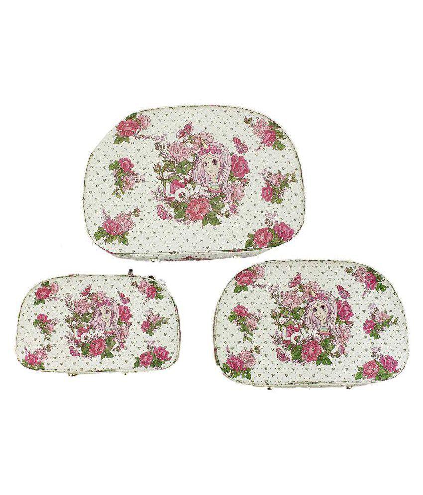 AVMART Set of Three White Love Girl Cosmetic, Makeup, Jewellery, Storage Travel Organiser Vanity Box, Gift, Home Decor, Utility Box (L-25x18, M-23x15, S-20x12)