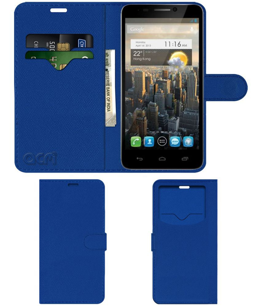 Alcatel Idol Ultra Flip Cover by ACM - Blue Wallet Case,Can store 2 Card & 1 Cash Pockets