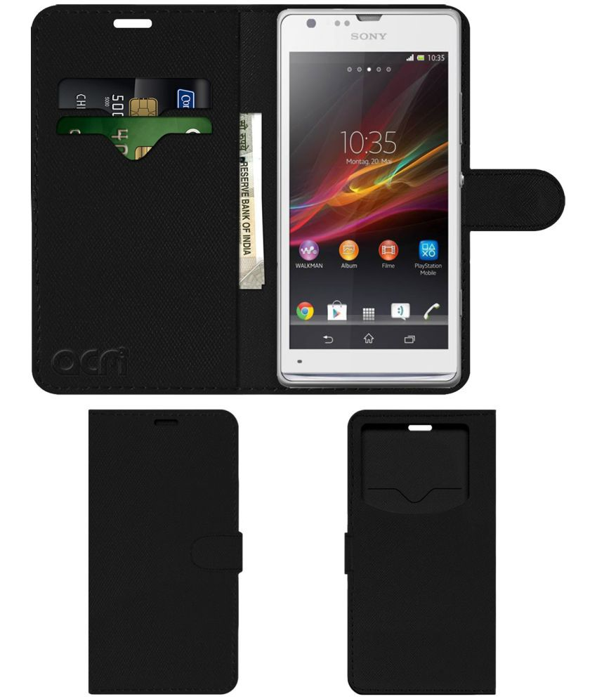 Sony Xperia SP Flip Cover by ACM - Black Wallet Case,Can store 2 Card & 1 Cash Pockets