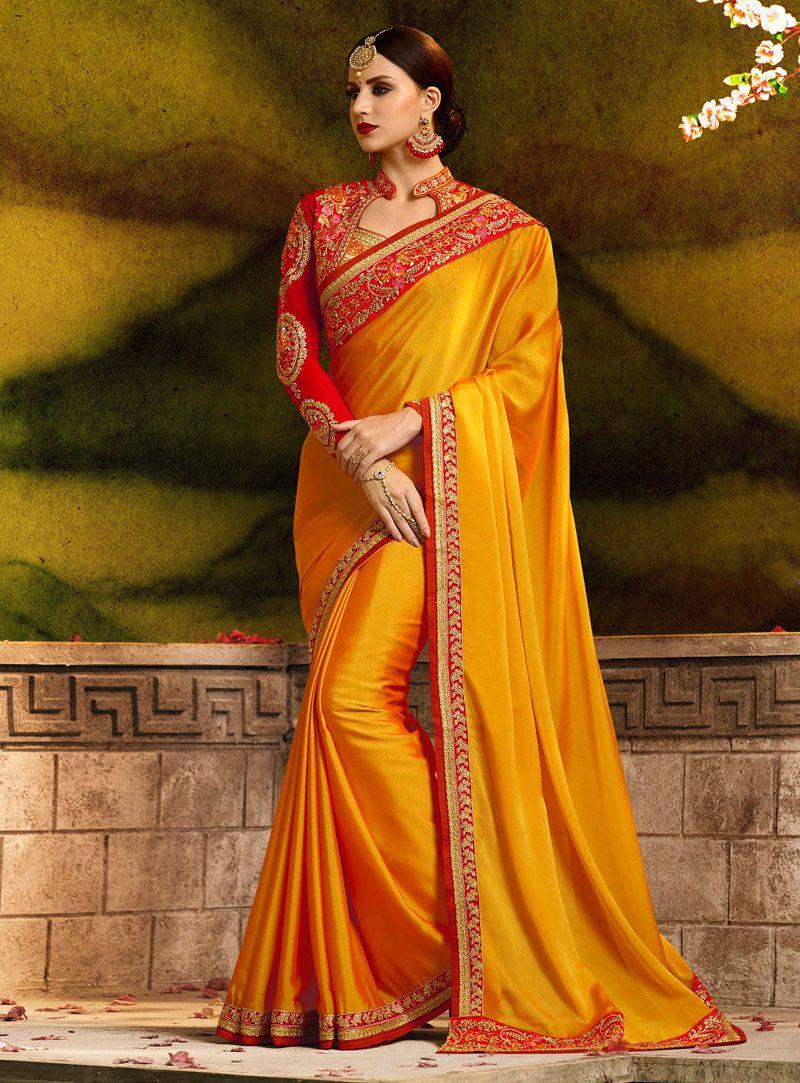 W Saree Yellow and Orange Silk Saree