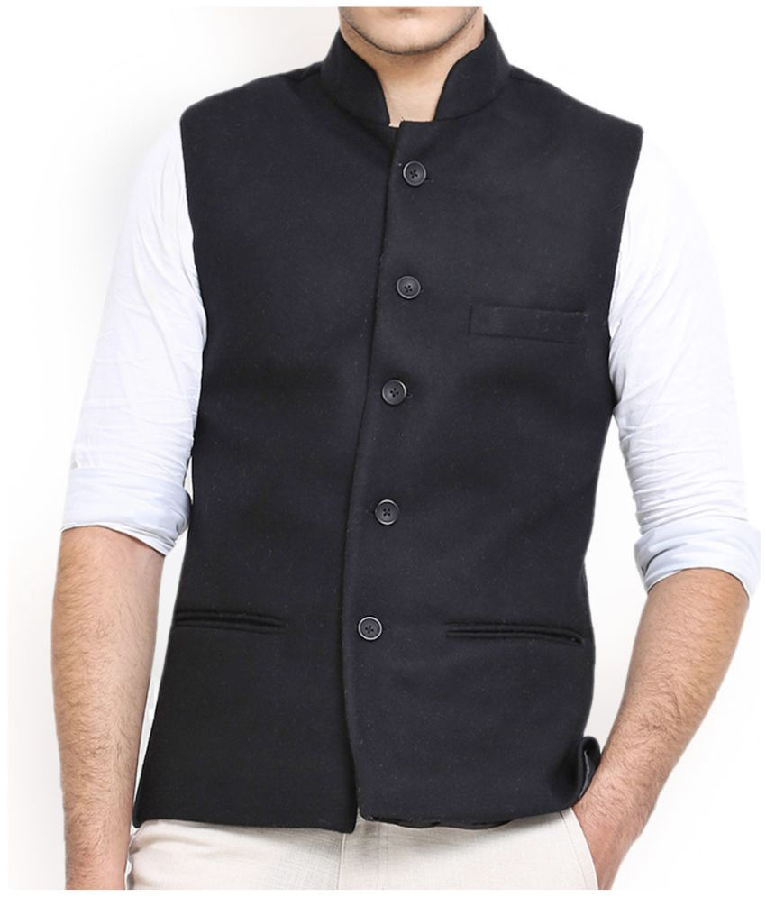 Vinay Collection White Jute Nehru Jacket