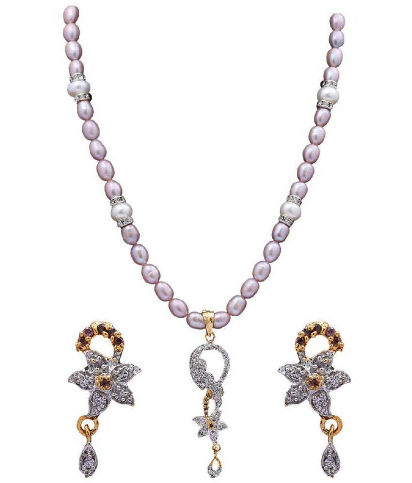 DD Pearls 18k Rose & White Gold Necklace Set