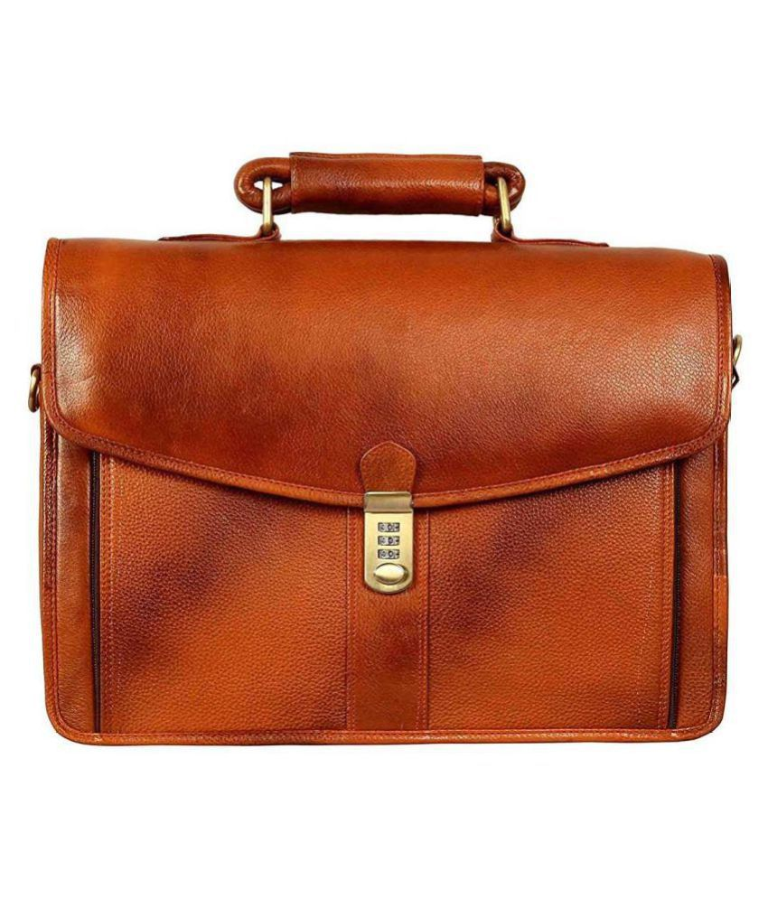 Hifly Tan Leather Office Messenger Bag