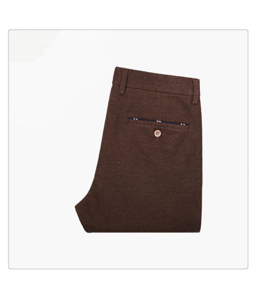 Louis Sun Coffee Regular -Fit Flat Trousers