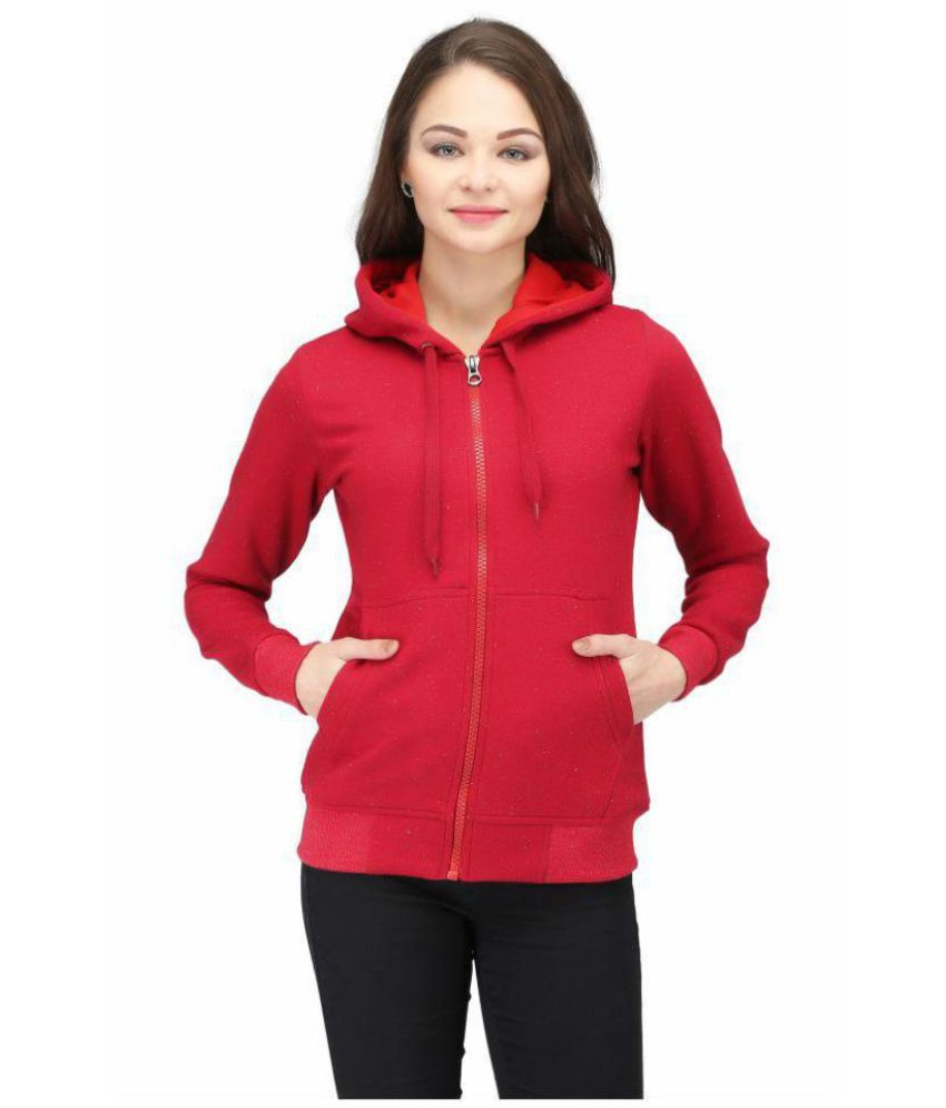 Be-Beu Cotton - Fleece Maroon Hooded Sweatshirt