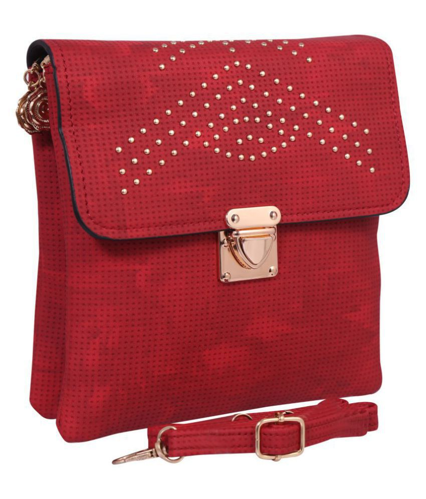 Bee Fashionable Red Pure Leather Sling Bag