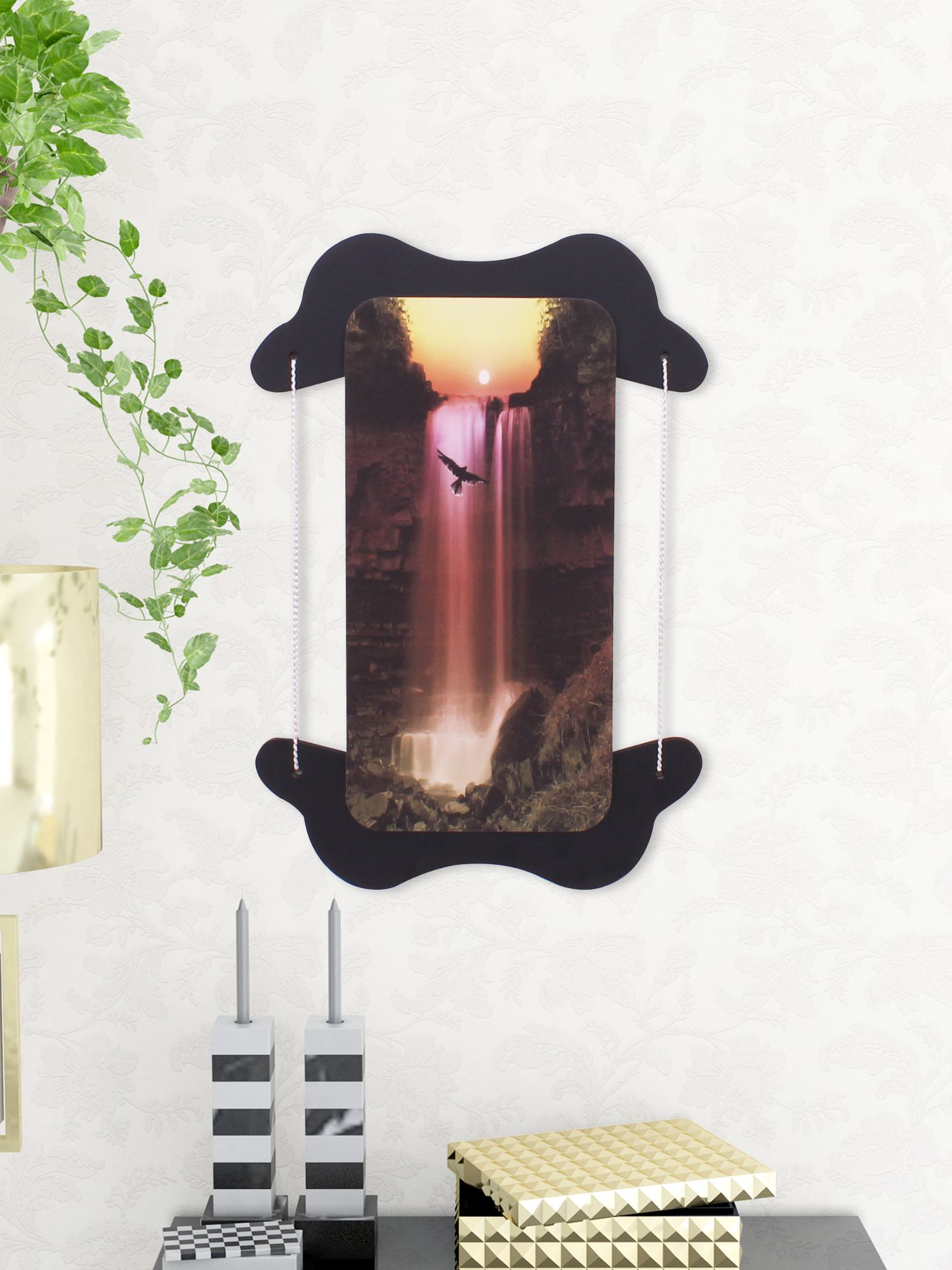Home Sparkle Sparkling Digital Print Waterfall On Wooden Frame Wall Art  Wood Painting With Frame