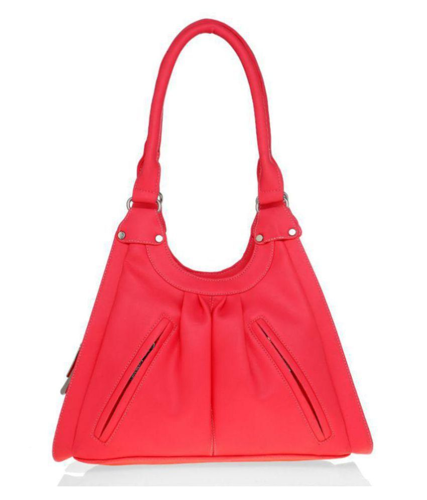 LADY QUEEN Red Faux Leather Shoulder Bag