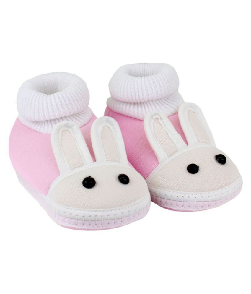 Neska Moda Baby Unisex Rabbit Baby Pink Booties/Shoes For 0 To 12 Months Infants-SK178