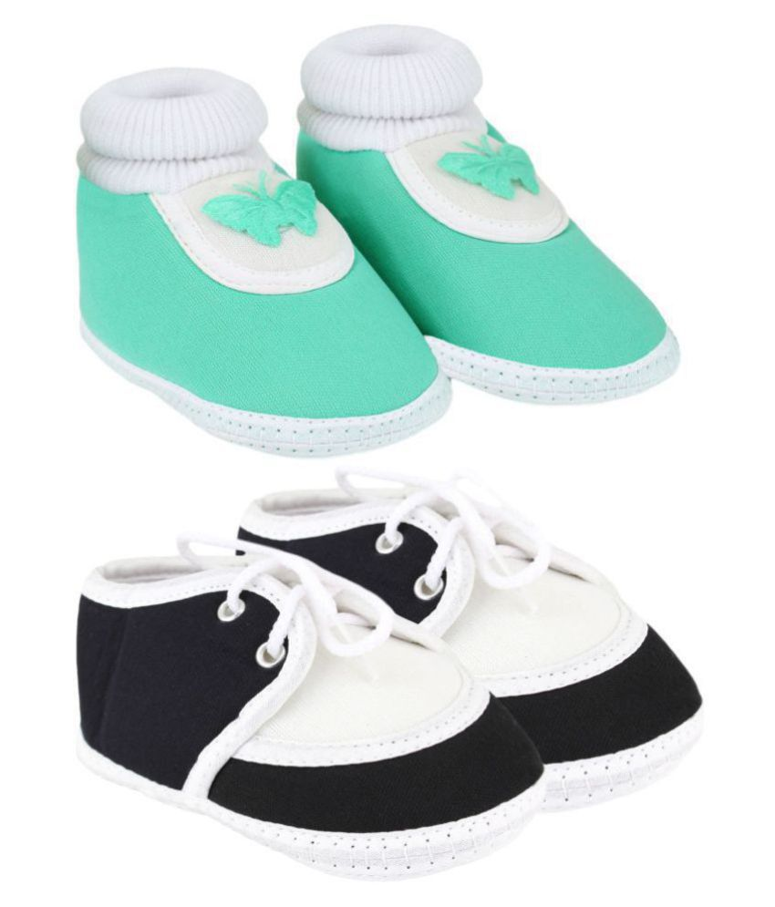 Neska Moda Pack Of 2 Baby Boys & Girls Black And Green Cotton Booties For 0 To 12 Months