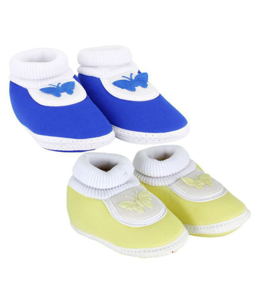 Neska Moda Pack Of 2 Baby Infant Soft Blue and Yellow Booties/Shoes For 0 To 12 Months