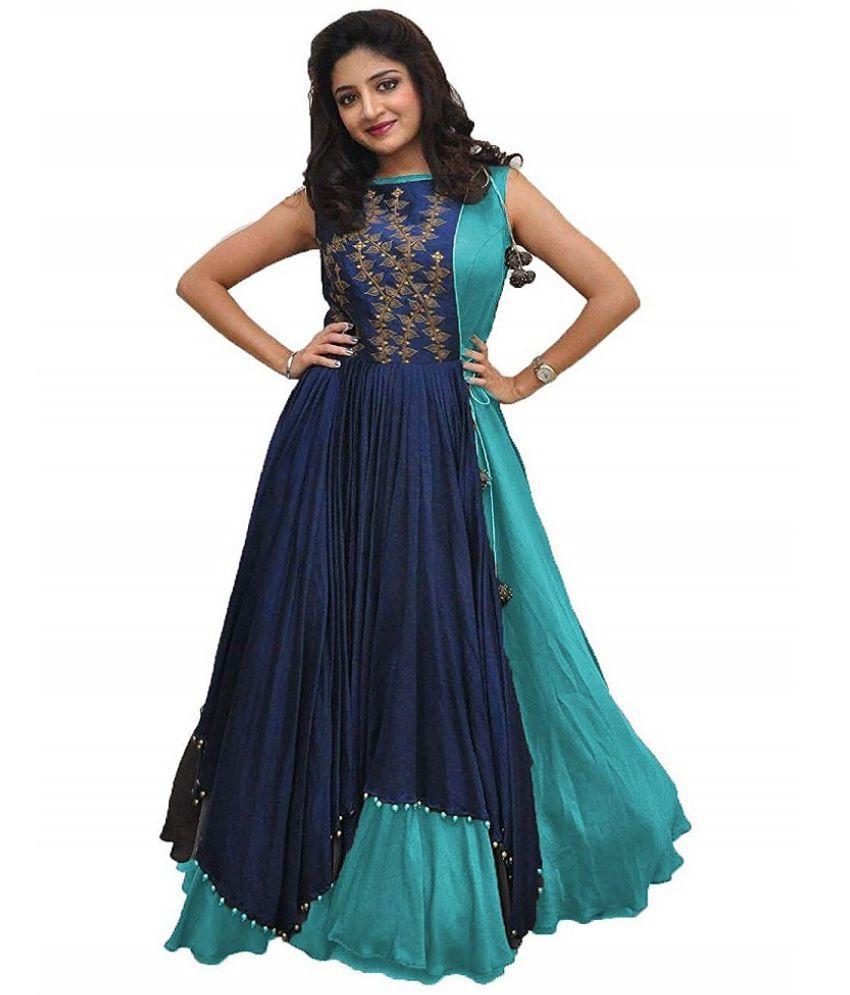 AMBIKA TRADING Cotton Blue A- line Dress