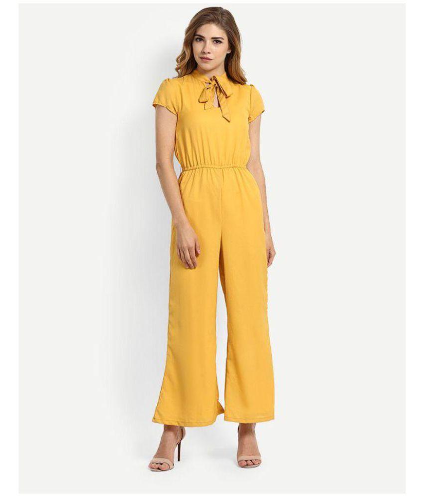 GLAMGIRLS Yellow Crepe Jumpsuit