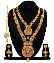 a10382b1969 Quick View. Arts Chetan Antique Gold Plated Artificial Rani Haar Double Necklace  Set With Earrings