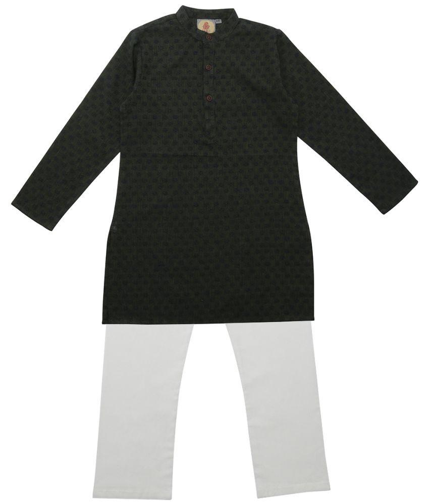 Salwar Studio Green & Blue Ethnic Wear Kids Cotton Kurta Pyjama Set For Boys