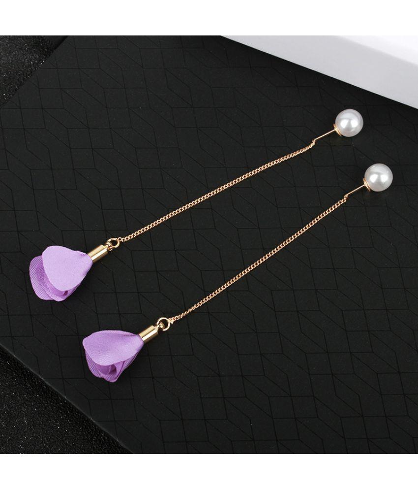 Version Of New Ear Accessories  Flower Ear  Long Tassel Pearl Ear Wire  Burst Temperament Earrings
