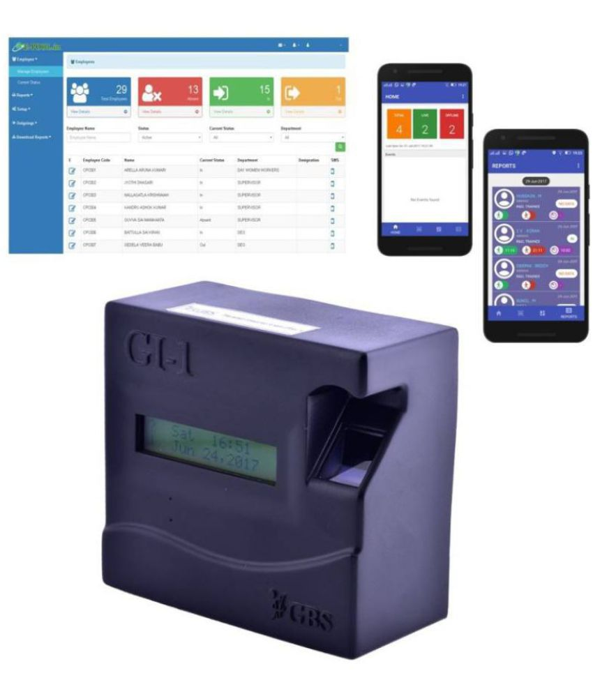GBS(WiFi) Biometric Attendance Management with Unlimited Cloud Storage for  Lifetime at zero maintenance, Android and iOS App support