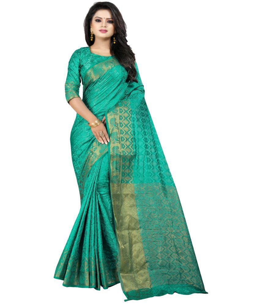 The Mammoth Store Blue Cotton Saree